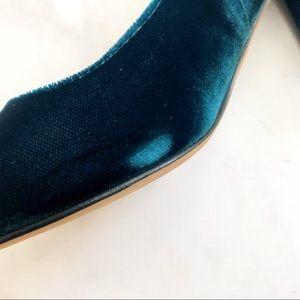ad093d527e7 Marc Fisher Shoes - Dark Teal Velvet Pointed Toe Block Heel Pumps